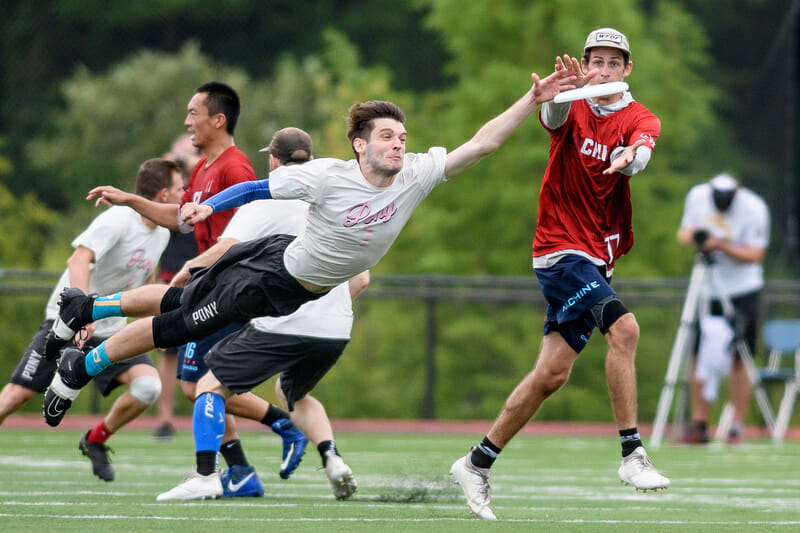 new York PoNY's Clark Cofer goes for the block in the men's final at the 2019 Pro Championships. Photo: Sam Hotaling -- UltiPhotos.com