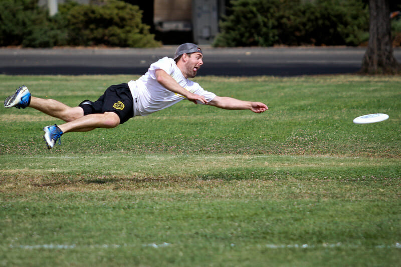 Sometimes a layout photo is all about the facial expression, like this one from NorCal Mixed Sectionals. Photo: Kristina Geddert -- UltiPhotos.com