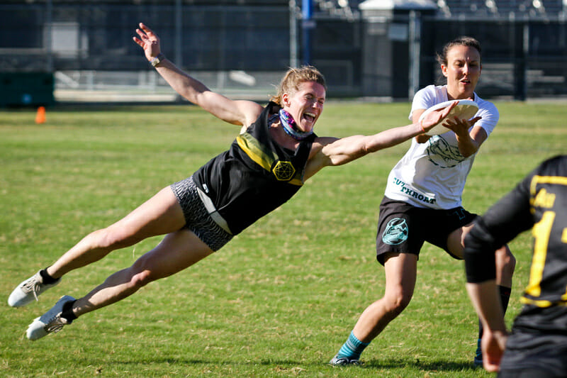 An incredibly close play caught perfectly at 2019 Nor Cal Mixed Sectionals. Photo: Kristina Geddert -- UltiPhotos.com