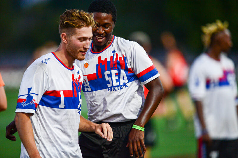 Kieran Kelly and Khalif El Salaam of Seattle Mixtape at the 2019 US Open. Photo: Kevin Leclaire -- UltiPhotos.com