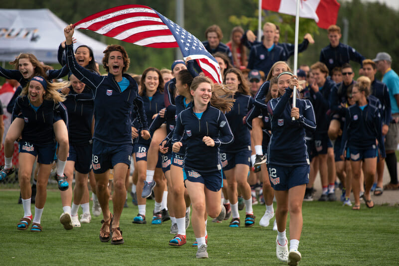 The US National Teams enter the opening ceremonies at the 2018 World Junior Ultimate Championships in Waterloo, Canada. Photo: Jolie J Lang -- UltiPhotos.com