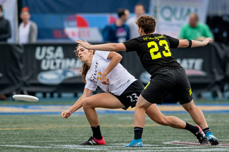 Both Cat Phillips of Toronto 6ixers and Lauren Sadler of Brute Squad received votes for Defensive Player of the Year, though neither ended up on the podium. Photo: Sam Hotaling -- UltiPhotos.com