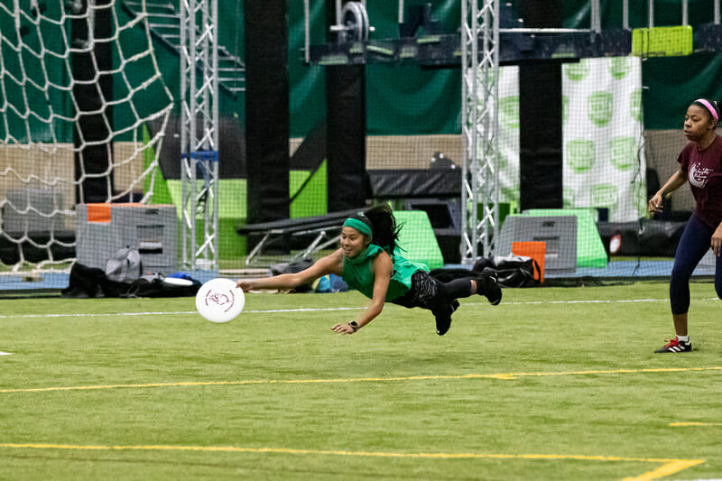 A layout grab at Mercer Midnight Madness. Photo: Evanna Wang -- UltiPhotos.com