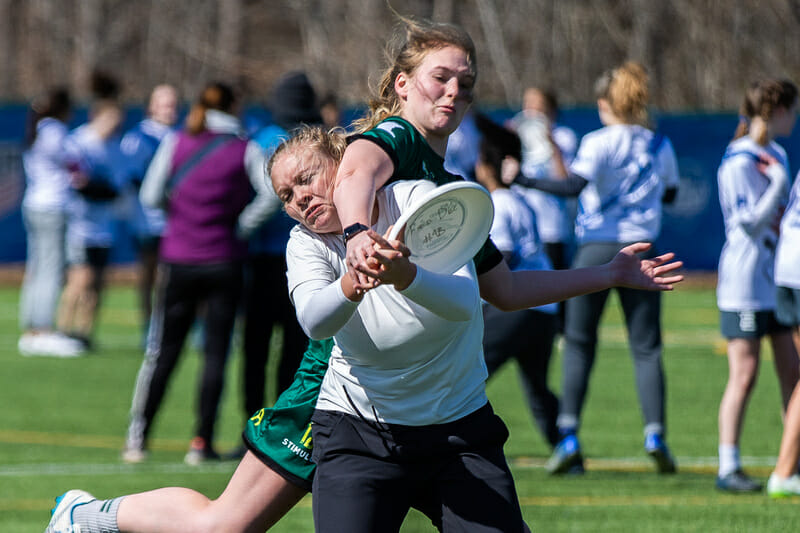 An tough collision as Edina bid for the block in the Girls division of QCTU HS. Photo: Katie Cooper -- UltiPhotos.com