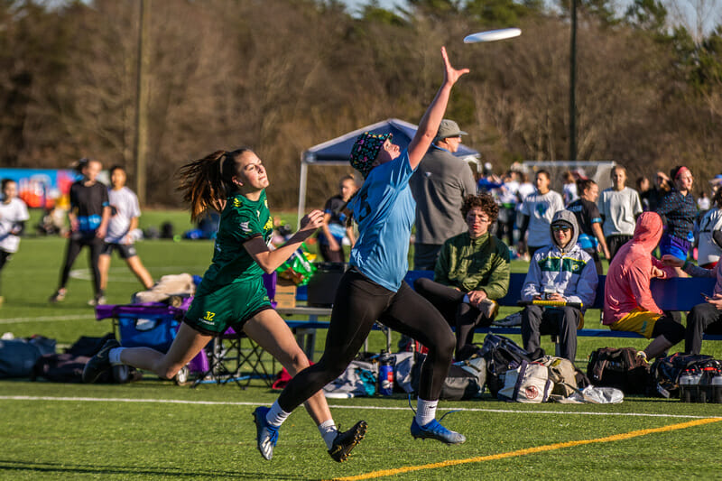 Action from the Girls division at Queen City Tune Up High School. Photo: Katie Cooper -- UltiPhotos.com
