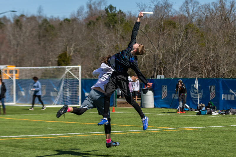 A players goes way up and just misses the catch at QCTU HS. Photo: Katie Cooper -- UltiPhotos.com