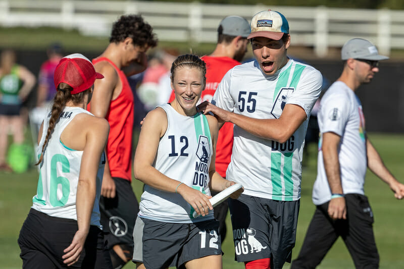 Of all the mixed teams at the Club Championships in 2019, Montana Moondog had the most balance among touches between men and women. Photo: Rodney Chen -- UltiPhotos.com