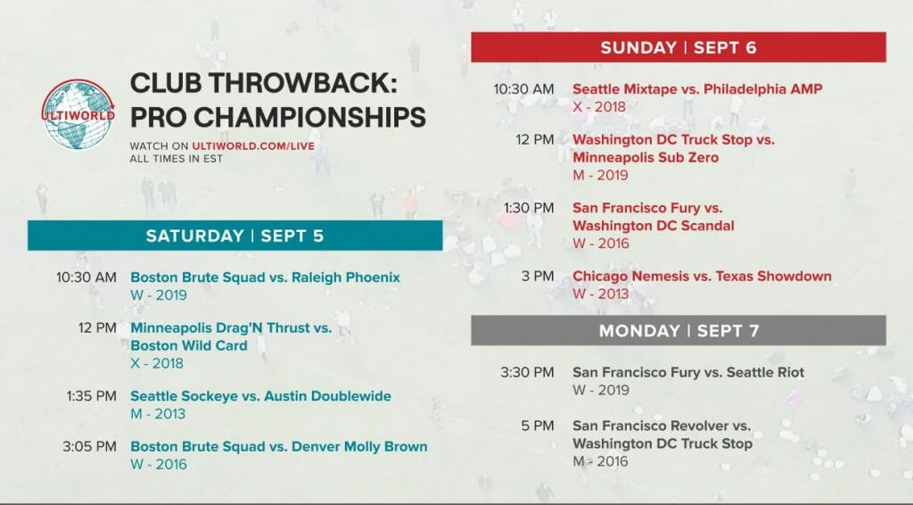 USA Ultimate Pro Championships Club Throwback Streaming Schedue