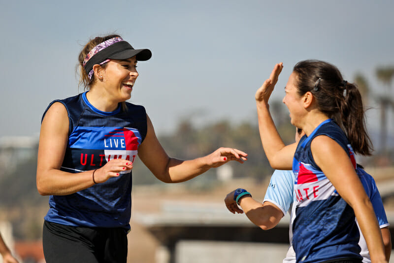 Live Ultimate ambassador Ashleigh Buch (left) worked with USA Ultimate to develop the new Gender Inclusion Policy. Photo: Kristina Geddert -- UltiPhotos.com
