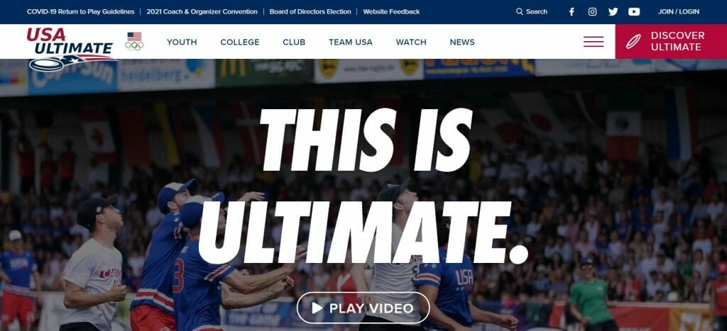 An image of USA Ultimate's new website at launch.