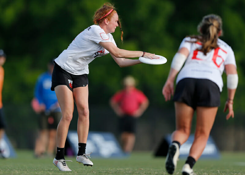 After player several seasons together at both the college and club level, Cara Seiber and Emily Barrett have formed a strong on-field connection. Photo: William 'Brody' Brotman -- UltiPhotos.com