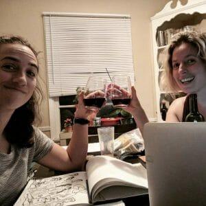 Megan Praz and Meghan Kemp-Gee working on One More Year