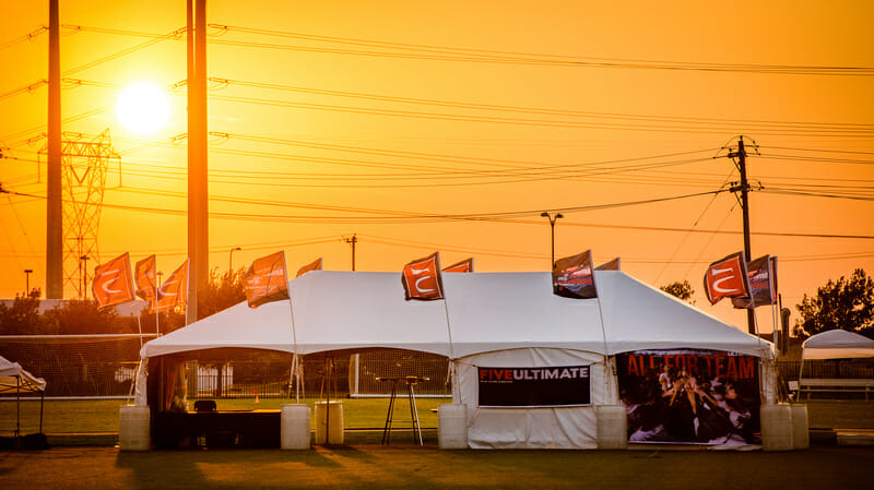 The Five Ultimate tent at the 2015 USAU Club Championships in Frisco, TX. Photo credit: Paul Andris -- UltiPhotos.com