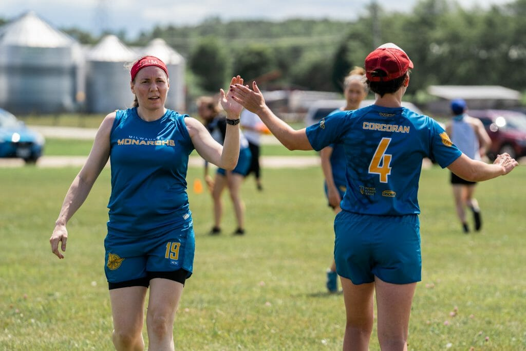 The Premier Ultimate League's Milwaukee Monarchs held their first full practice of 2021. Photo credit: Jake Wilson
