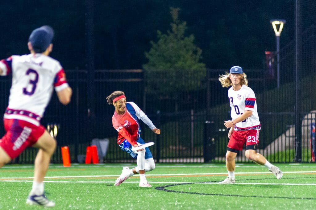 AJ Merriman was one of several standouts for the DC Breeze in a blowout week 3 victory over Boston. Photo: Derek Frazer / AUDL.