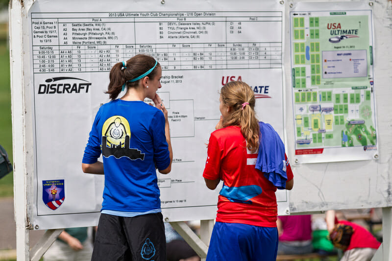 Scores posted at the 2013 USA Ultimate Youth Club Championships in Blaine, MN. Photo credit: Nick Lindeke -- UltiPhotos.com