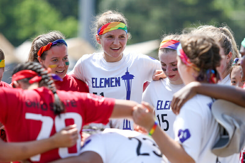 Washington Element and Ohio State Fever at the 2016 D-I College Championships in Raleigh, NC. Many teams wore pride emblems in protest of North Carolina's HB2, an anti-trans law that has since been repealed. Photo: Paul Rutherford -- UltiPhotos.com