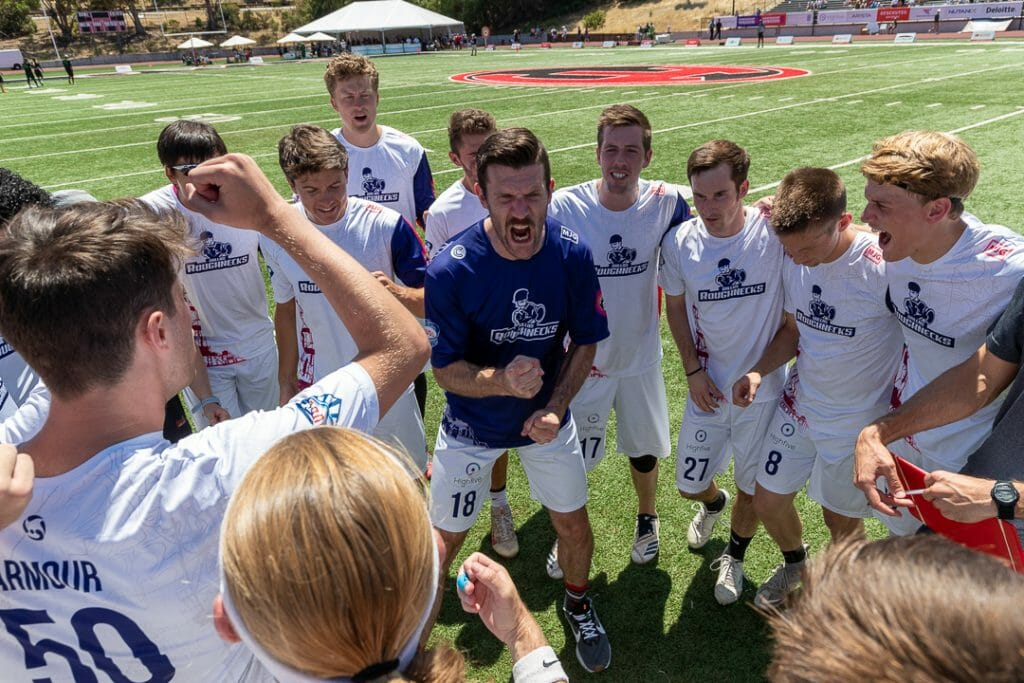 Dallas Roughnecks' Dan Emmons (center) was one of several players involved in an on-field incident during a July 3 game against the Seattle Cascades, and was later suspended by the league. Photo: Alex Ho - The AUDL