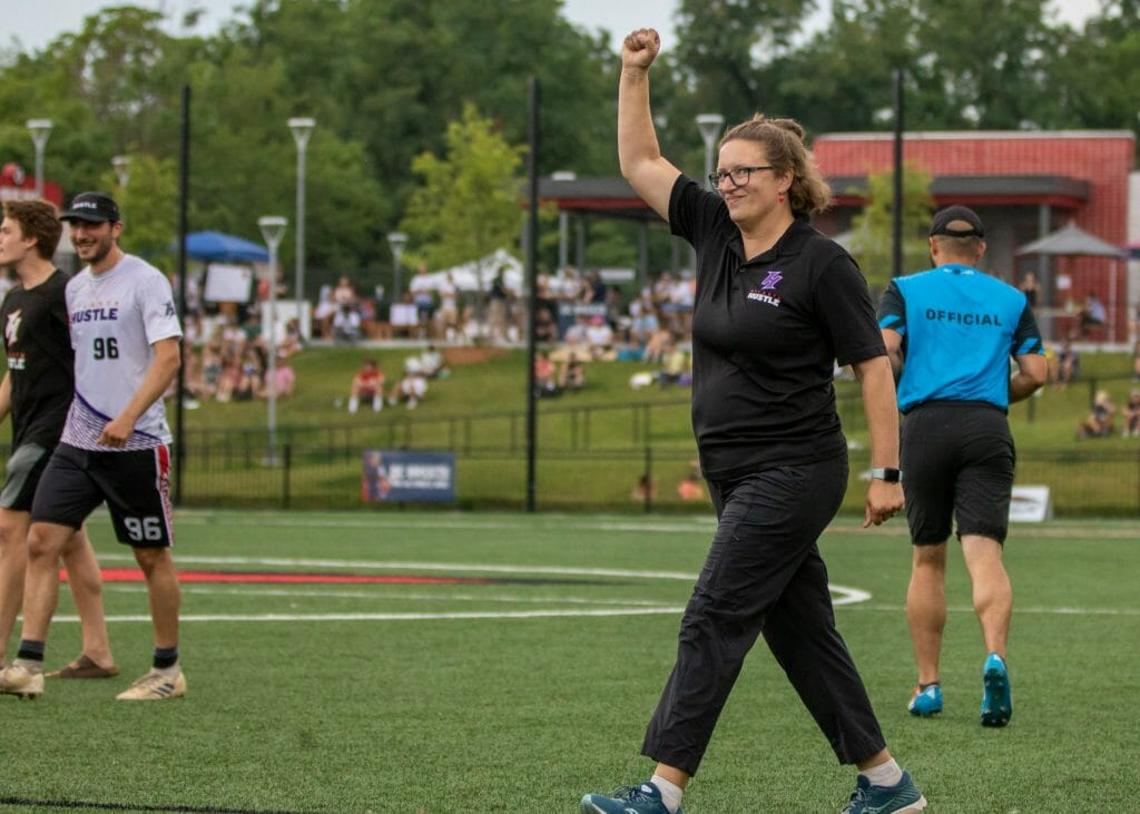 Head coach Miranda Roth Knowles has the Atlanta Hustle atop the Atlantic Division standings after an upset win over the DC Breeze. Photo: Rob Gilmor -- The AUDL.