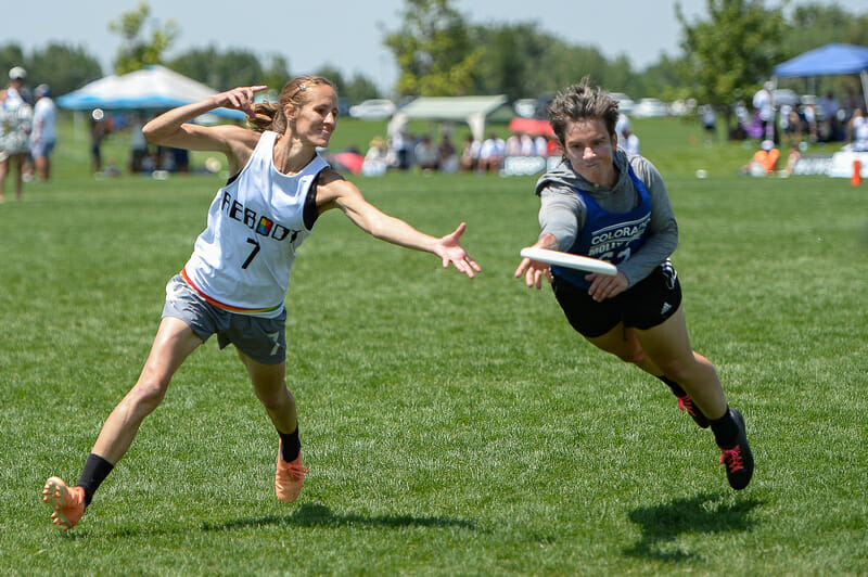 Boston Reboot Squad's Kami Groom and Denver Molly Grey's Claire Chastain in the 2021 Masters Championships Women's masters championship game. Photo: Kevin Leclaire -- UltiPhotos.com