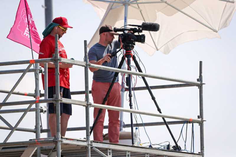 Ultiworld's Charlie Eisenhood behind the camera, filming from the scaffolding.