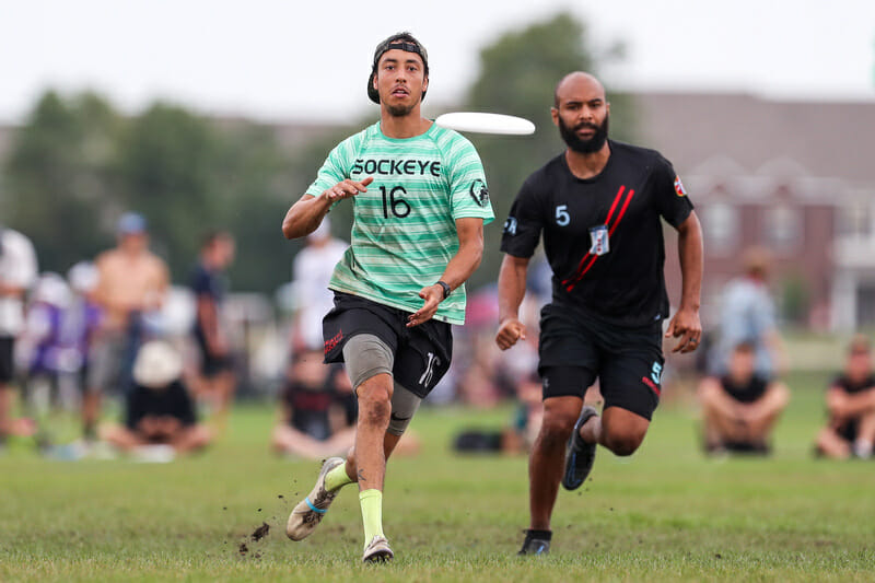 Sockeye's Trent Dillon gets free for a catch at the 2021 USA Ultimate US Open.