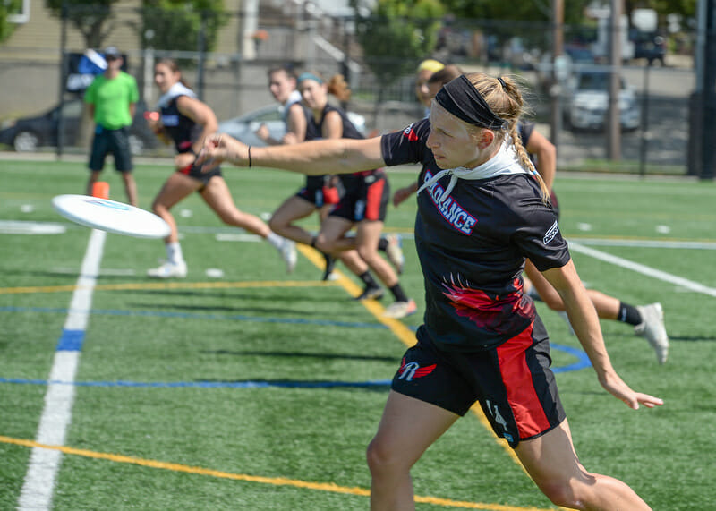 Lyla Stanland pulls for the Radiance during the final of the Premier Ultimate League's 2021 East Championship Series of women's frisbee.