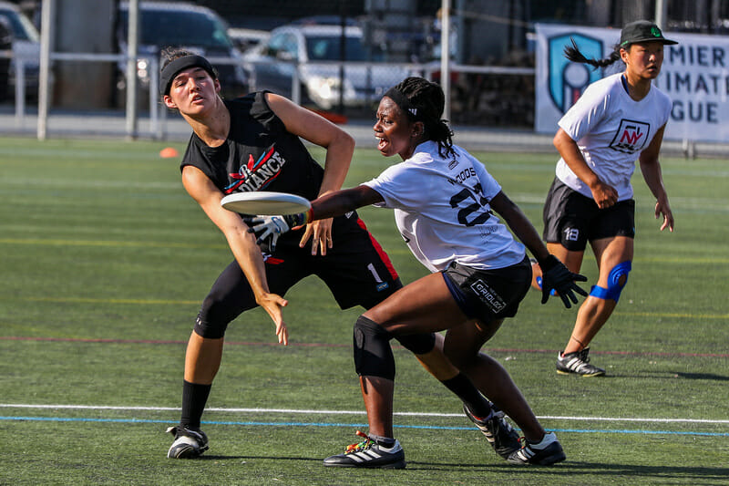 Raleigh Radiance's Lindsay Soo throws a forehand past Gridlock's Lauren Woods at their Premier Ultimate League's 2019 semifinal.