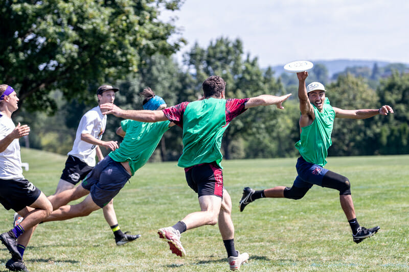 Three Sprout players attack the disc at Philly Open. Photo: Sandy Canetti -- UltiPhotos.com