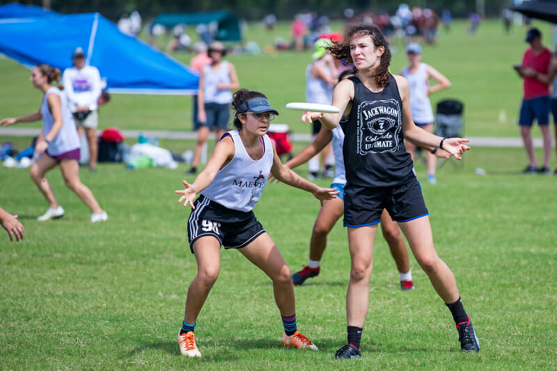 Denver Jackwagon in pool play at South Central Regionals in 2019. Photo: Marshall Morris -- UltiPhotos.com