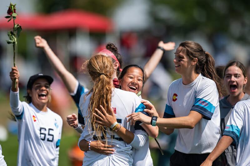 Denver Molly Brown celebrate victory in the final of the 2021 Pro Championships. Photo: Sam Hotaling -- UltiPhotos.com