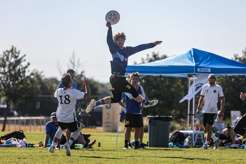No competition up this high at 2021 South Central Club Regionals. Photo: Matthew Brooks — UltiPhotos.com
