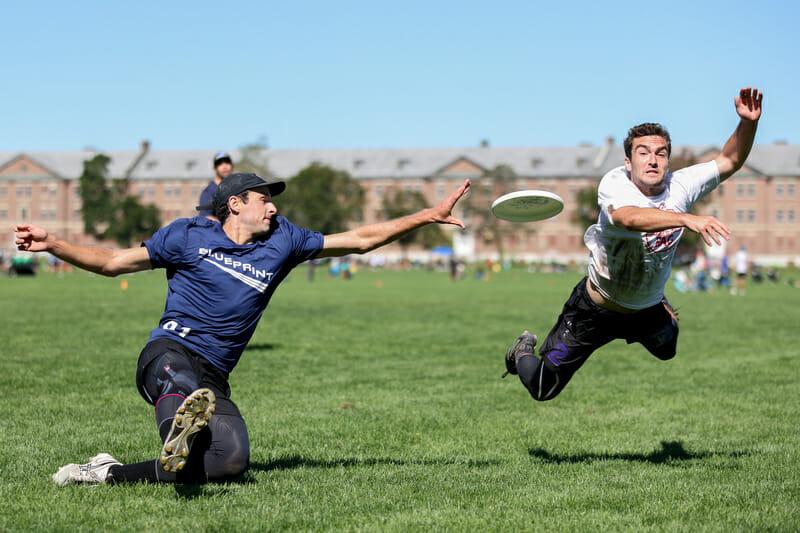 Brooklyn Blueprint keeps possession of the disc at 2021 Northeast Club Men's Regionals. Photo: Alec Zabrecky — UltiPhotos.com